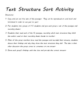 Text Structure Quiz for Fourth Grade + Text Structure Sort & Graphic Organizer