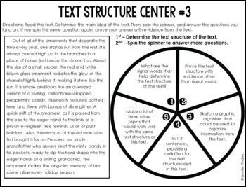 Text Structures Reading Centers | 4th and 5th Grade Reading Spinner Centers