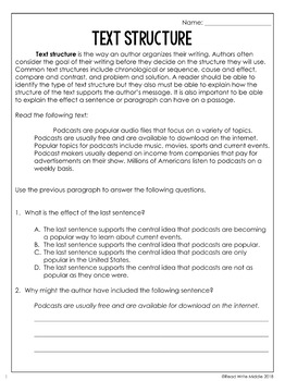 Text Structure Reading Comprehension Passages and Questions for Test Prep