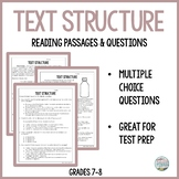 Text Structure Reading Comprehension Passages and Question