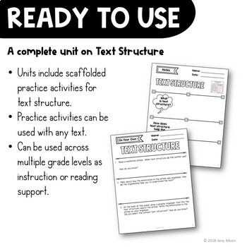 Text Structure Reading Strategy Unit: Notes, Practice, & Assessment + INB