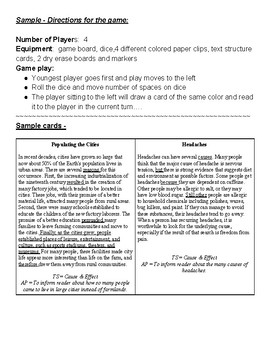 Text Structure Review Board Game