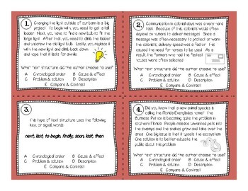 Text Structure Scoot Task Card Review Game (4th-5th grade)