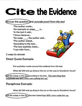 Text Structure Summarize Paraphrase Cite the Evidence Activity Will's Winter