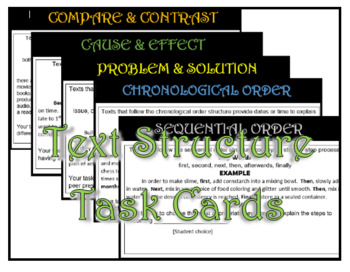 Text Structure Task Cards & Sticky Note Assessment