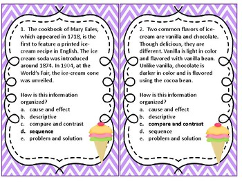 Text Structure Task Cards Language Arts Task Cards