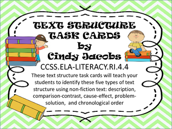 Text Structure Task Cards Non Fiction Text Structure Informational