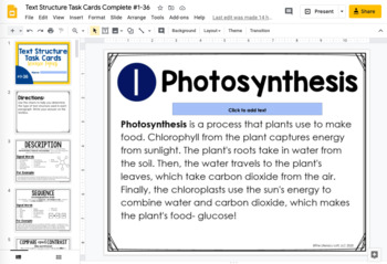Text Structure Task Cards {Scientific Concepts}