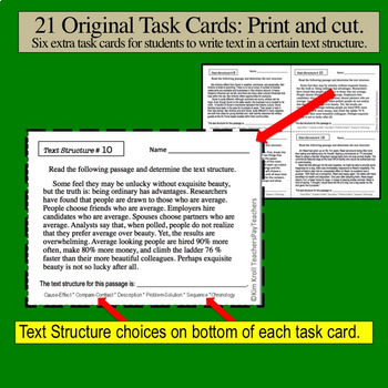 Text Structure Task Cards for the Middle and High School Student Set 2