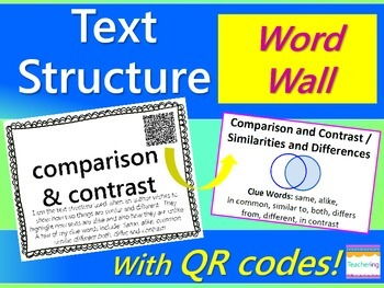 Text Structure Word Wall {with QR Codes, Definitions, & Example Passages}