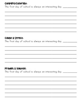 Text Structure Writing Activity