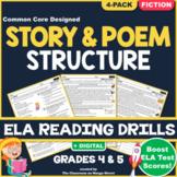 Story Structure ELA Reading Comprehension Worksheets GRADE 4 & 5 (RL.4.5/RL.5.5)