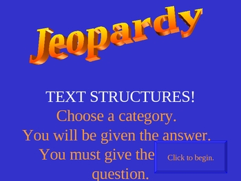 Text Structures Jeopardy