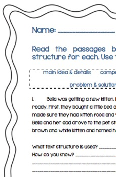 Text Structures, Main Idea, Sequence, Compare & Con, Cause & Eff, &Problem/Solut
