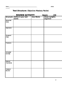 Text Structures Mastery Packet