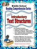 Text Structures: Middle School-PowerPoint, Task Cards, Ass