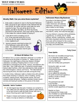 Text Structures Newsletter:  Halloween Edition