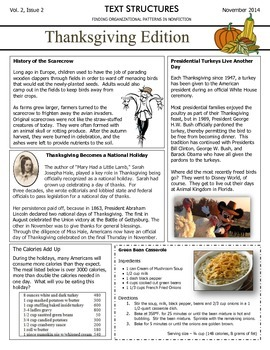 Text Structures Newsletter: Thanksgiving Edition