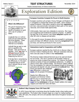 Text Structures Newsletters:  History Bundle