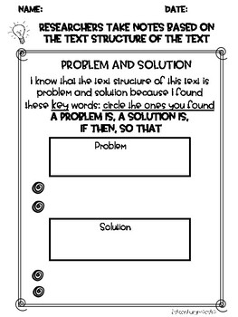 Text Structures/ Problem and Solution