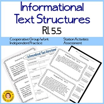 Text Structures RI 5.5  - Cooperative Groups - Station Cards - Worksheets - Quiz