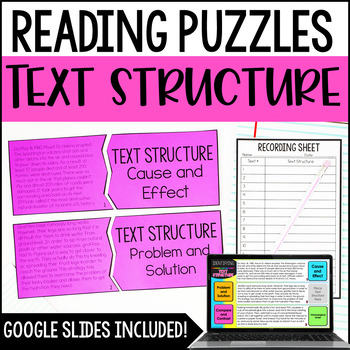 Text Stuctures Reading Puzzles | 4th and 5th Grade Reading Center