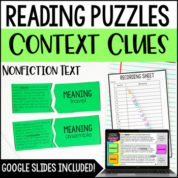 Context Clues Reading Puzzles | 4th and 5th Grade Nonfiction Reading Center