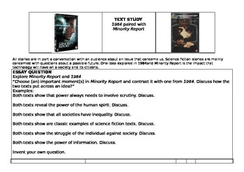Text Study - 1984 paired with Minority Report