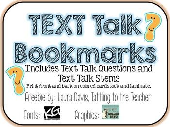 Text Talk Bookmarks {freebie}
