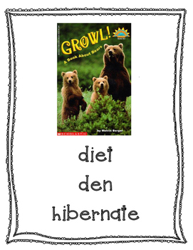 Text Talk Growl! A book about Bears