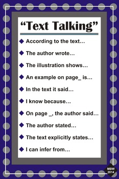 Text Talk Posters / Cite Evidence