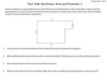 Text Talk: Rectilinear Area and Perimeter Tasks {Grades 3 - 5}