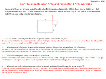 Text Talk: Rectilinear Area and Perimeter Tasks {Grades 3 - 5}