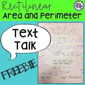 Text Talk: Rectilinear Area and Perimeter Tasks {Grades 3 - 5} FREEBIE!