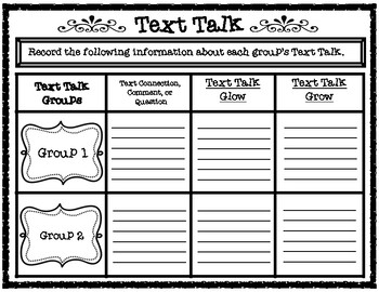 Text Talk Student Centered Accountability & Evaluation Graphic Organizer