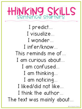 Text Talk & Thinking Skills Posters {Read, Think & Write FREEBIE SAMPLE}
