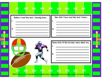 Text Thoughts Nonfiction Literary Response Graphic Organizer with Football Theme