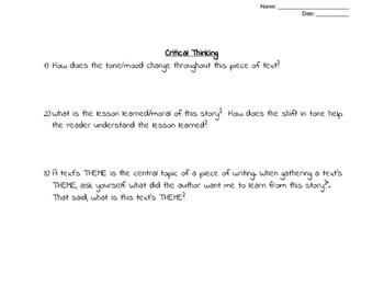 Text Tracking: TONE & MOOD Graphic Organizer