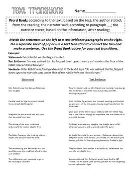 Text Transition Poster & Worksheet
