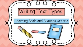 Text Type Writing Learning Goals and Success Criteria
