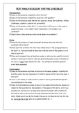 Text analysis text response student checklist