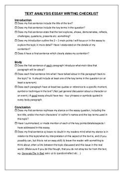 Text analysis text response student checklist