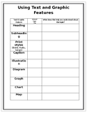 Text and Graphic Feature Scavenge Graphic Organizer