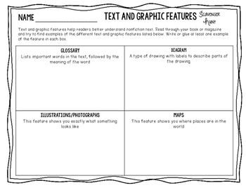 Text and Graphic Features Scavenger Hunt