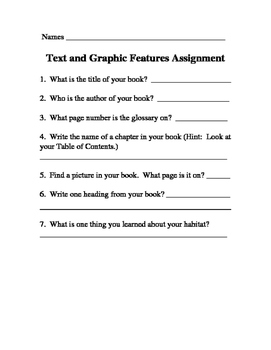 Text and Graphic Features Worksheet