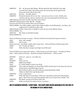 Text and Script Screenplay for the Cyclone Scene in The Wizard of Oz