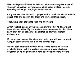 Argument Writing Mystery Picture ~ Text based!