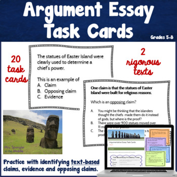 Argument Writing Task Cards ~ Text based!