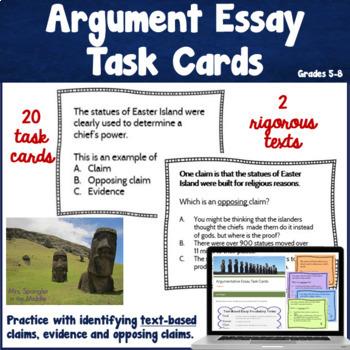 Argumentative Writing Task Cards ~ Text based!