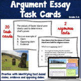 Argumentative Essay Writing Task Cards | Text based | Middle School